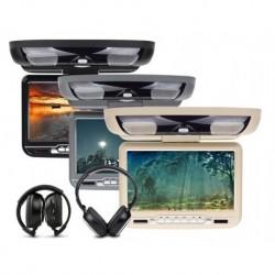 MONITOR FLIP DOWN EONON C0802Z USB SD MP3 DIVX DVD BEIGE 2 X CUFFIE +