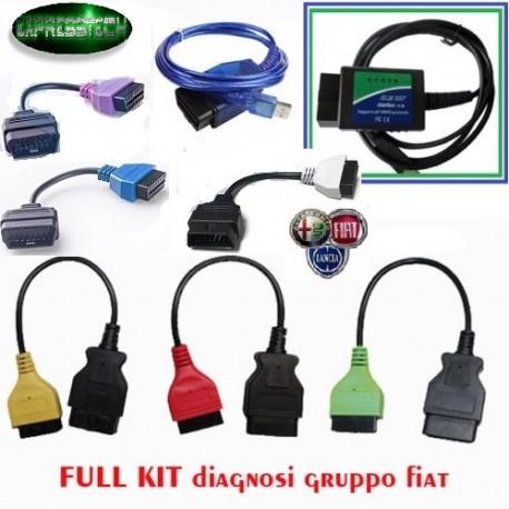 KIT DIAGNOSI AUTO FIAT ALFA LANCIA ELM327 USB V1.4 + KKL + Adattatori TIPO 1-2-3 -4-5-6