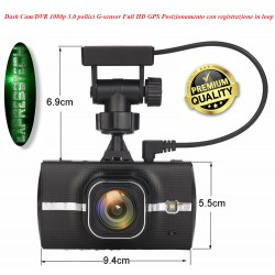 Dash Cam/Dvr - Full HD 1080p - 3.0 pollici - G-sensor - WI-FI - GPS con registrazione in loop + retrocamera