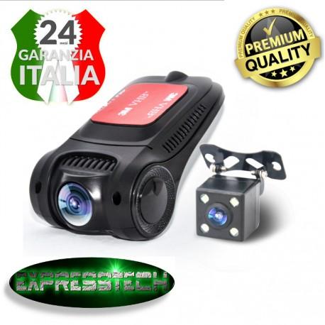 Dash Cam/Dvr - Full HD 1080p 5mpx - Visione notturna - Motion detection - WI-FI  + retrocamera