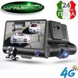 Nuova Dash Cam  da 4 pollici + retrocamera  HD 1080P Night Vision 4G anteriore e posteriore a tre obiettivi