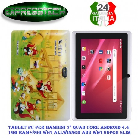Tablet bambini Kids Education Tablet PC, 7.0 pollici, wifi,1GB RAM+8GB, Android